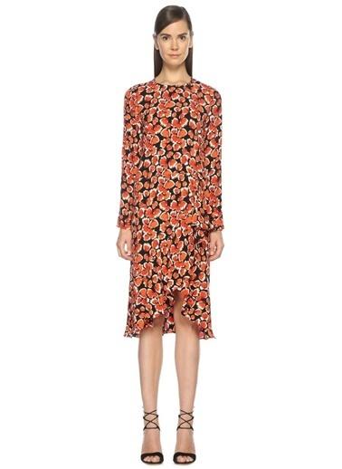 Çiçek Desenli Midi Elbise-Beymen Collection